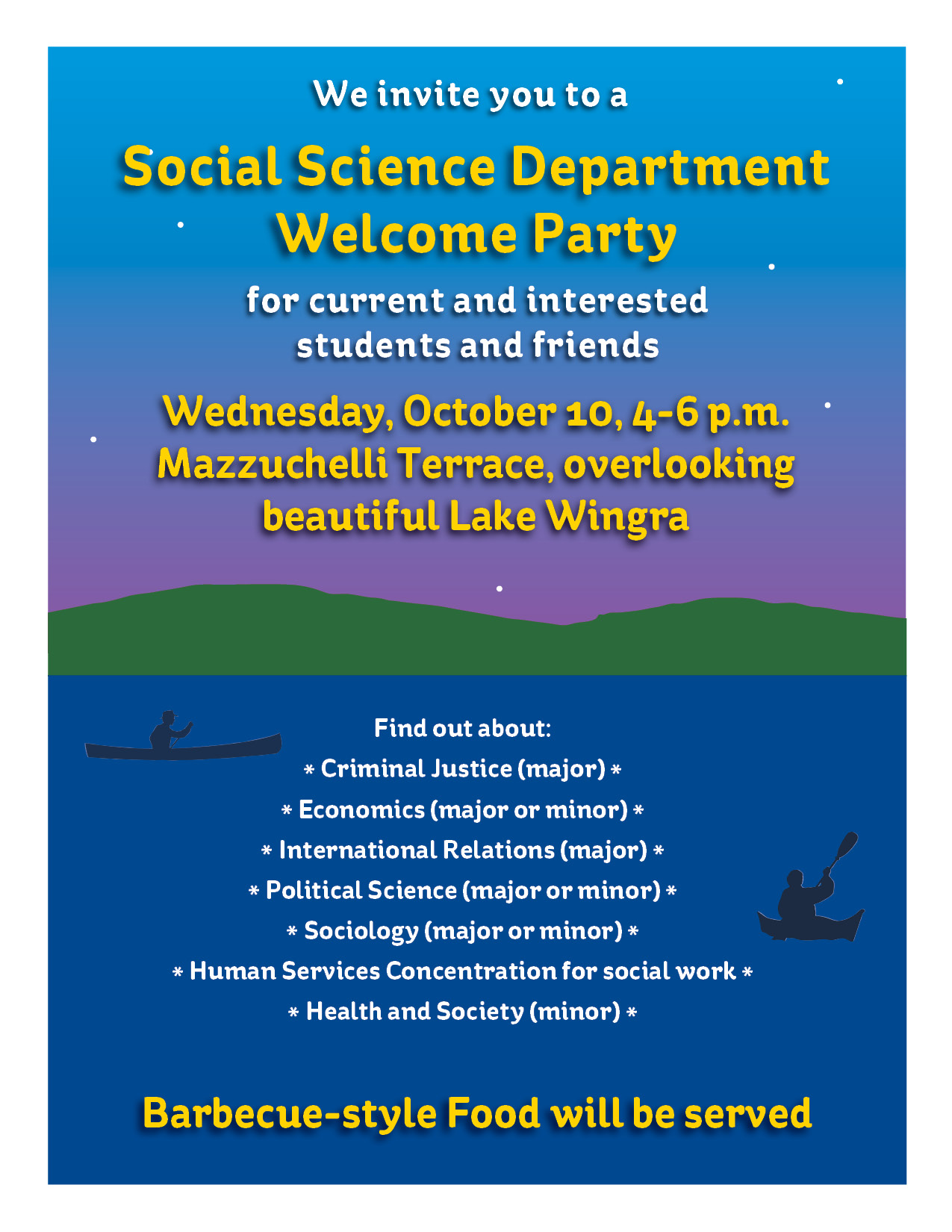 poster for the Social Science Department Welcome Party on 10-10-18