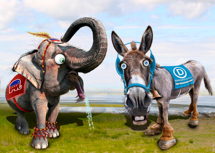 caricature of republican elephant and democratic donkey